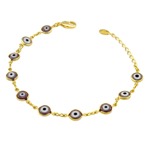 SB165PUR 18k Gold Plated Bracelet with Purple Evil Eyes