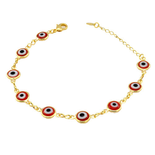 SB165RED 18k Gold Plated Bracelet with Red Evil Eyes