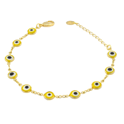 SB165YEL 18k Gold Plated Bracelet with Yellow Evil Eyes