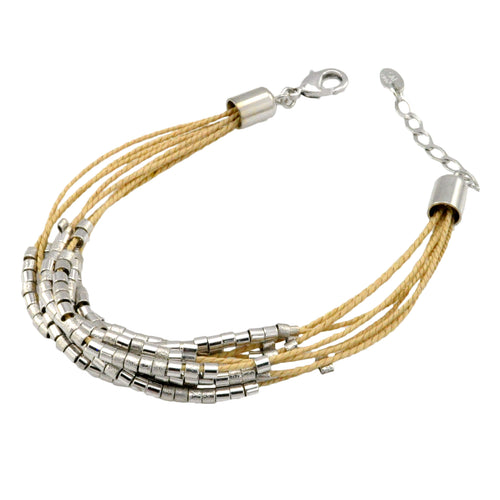 SB172R Natural Cord Bracelet with Rhodium Bands