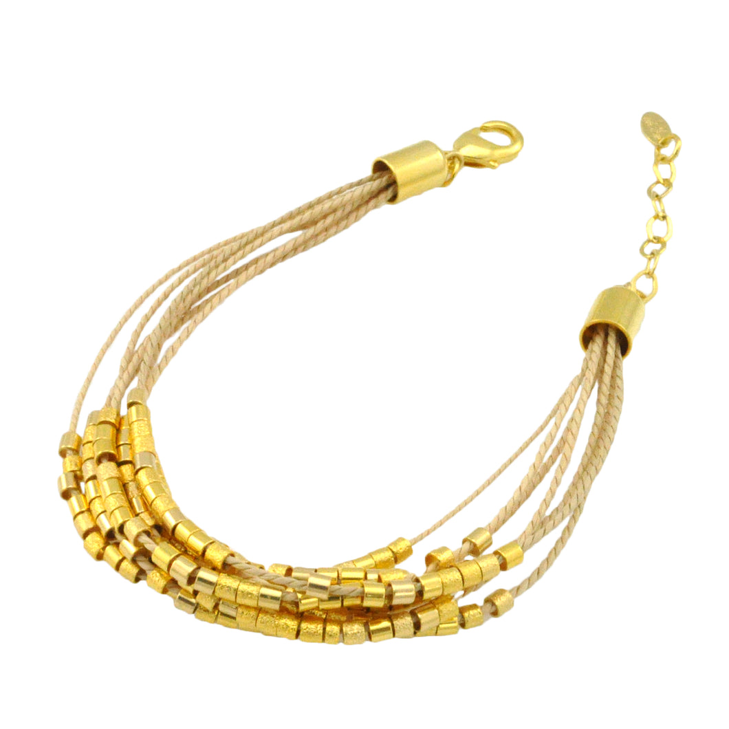 SB172 Natural Cord Bracelet with 18k Gold