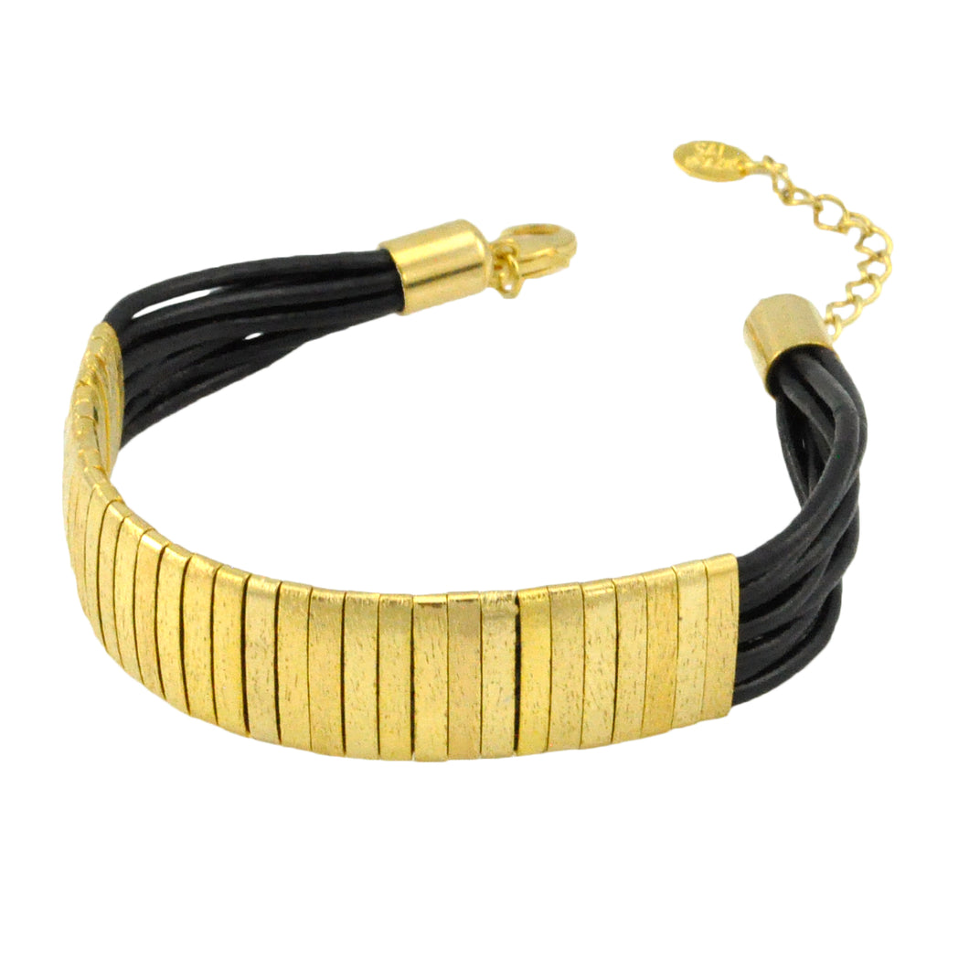 SB174B 18k Gold Plated Bracelet with Black Leather
