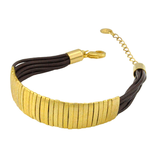 SB174C 18k Gold Plated Bracelet with Brown Leather