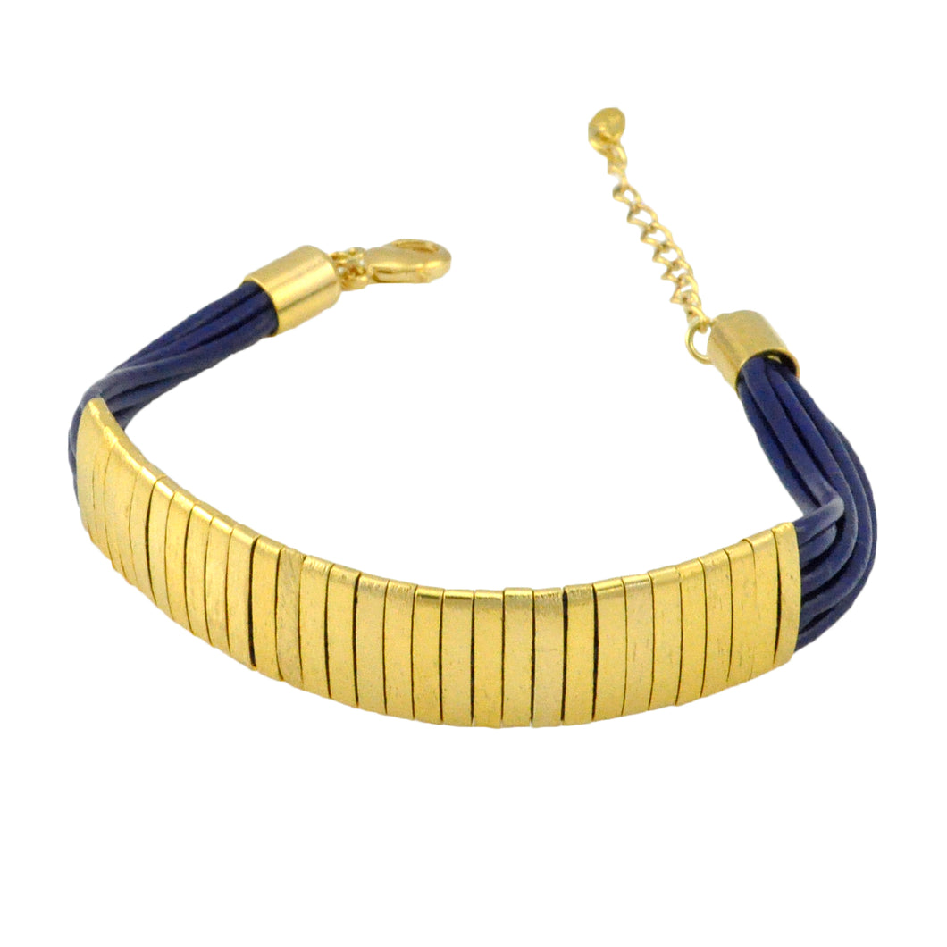 SB174D 18k Gold Plated Bracelet with Blue Leather