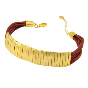 SB174E 18k Gold Plated Bracelet with Red Leather