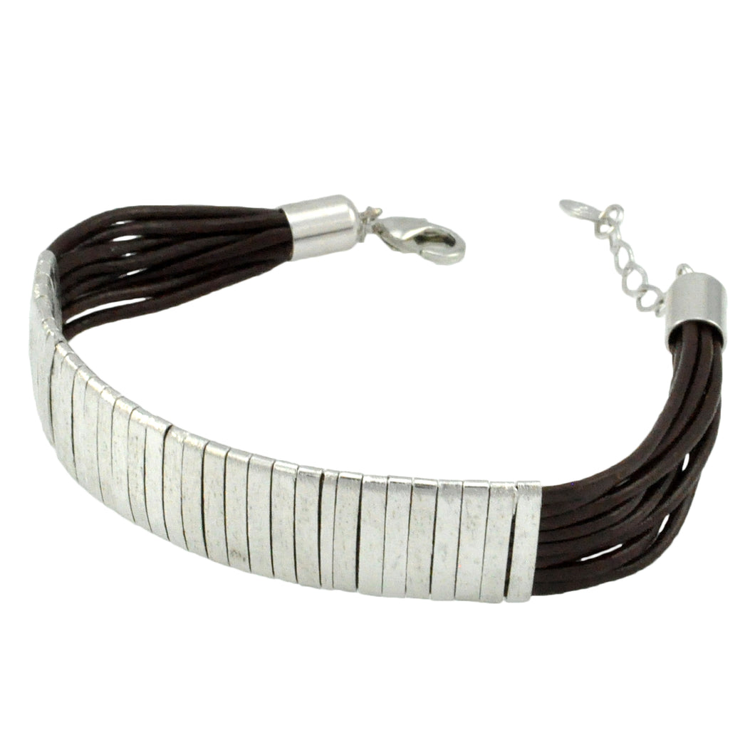 SB174RA Brown Leather Bracelet with Rhodium Bands