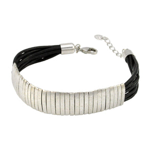 SB174RB Black Leather Bracelet with Rhodium Bands