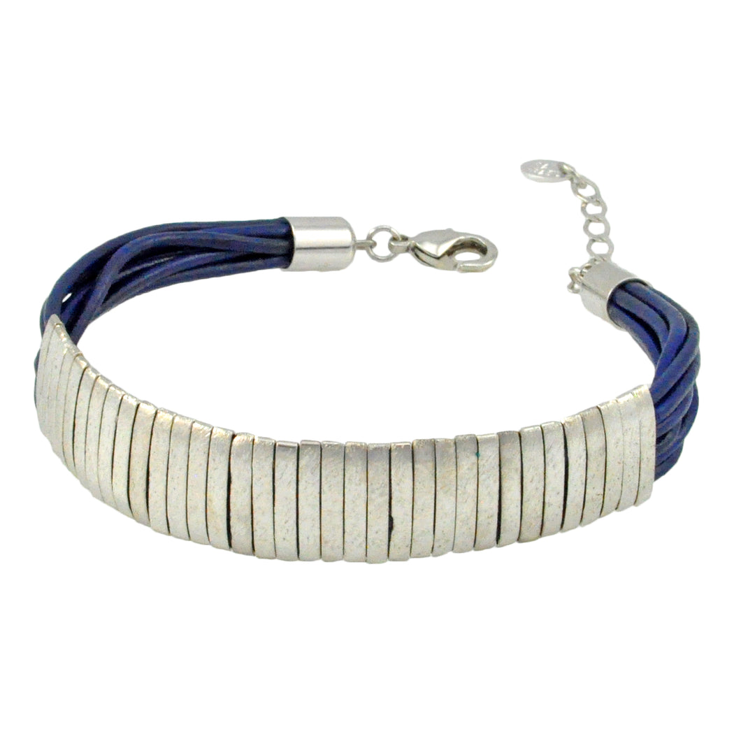 SB174RC Blue Leather Bracelet with Rhodium Bands