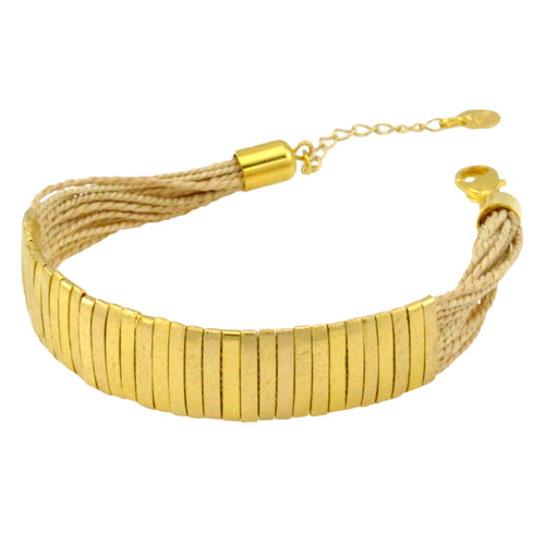SB174 18k Gold plated Bracelet with Natural Fiber
