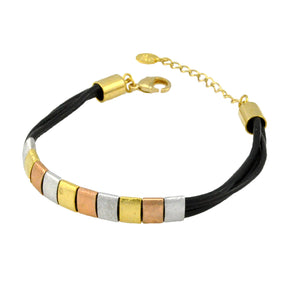 SB183B Black Leather Bracelet with Gold, Rose Gold and Rhodium