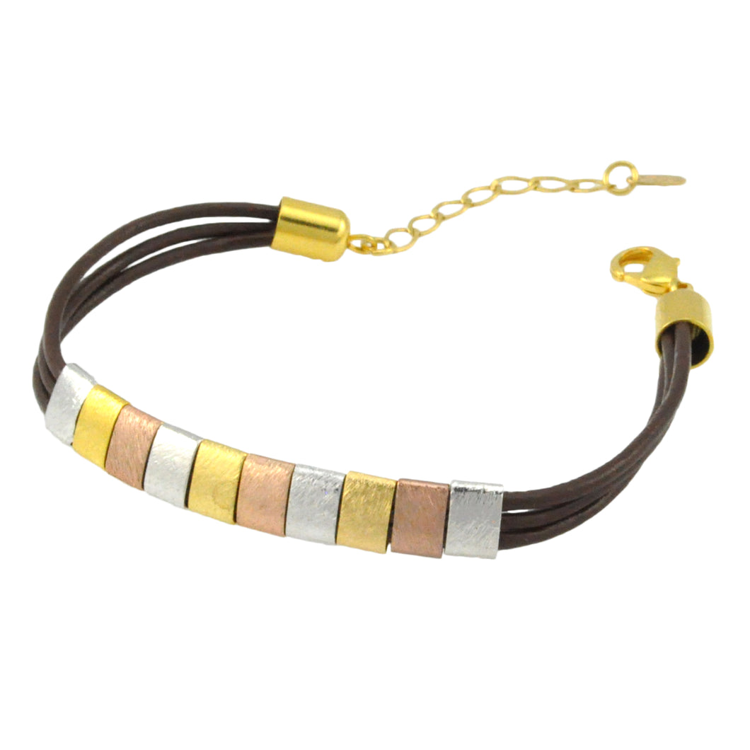 SB183C Brown Leather Bracelet with Gold, Rose Gold and Rhodium