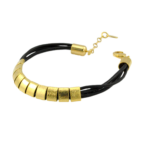SB192B Black Leather Bracelet with 18k Gold