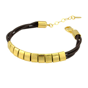 SB192C Brown Leather Bracelet with 18k Gold