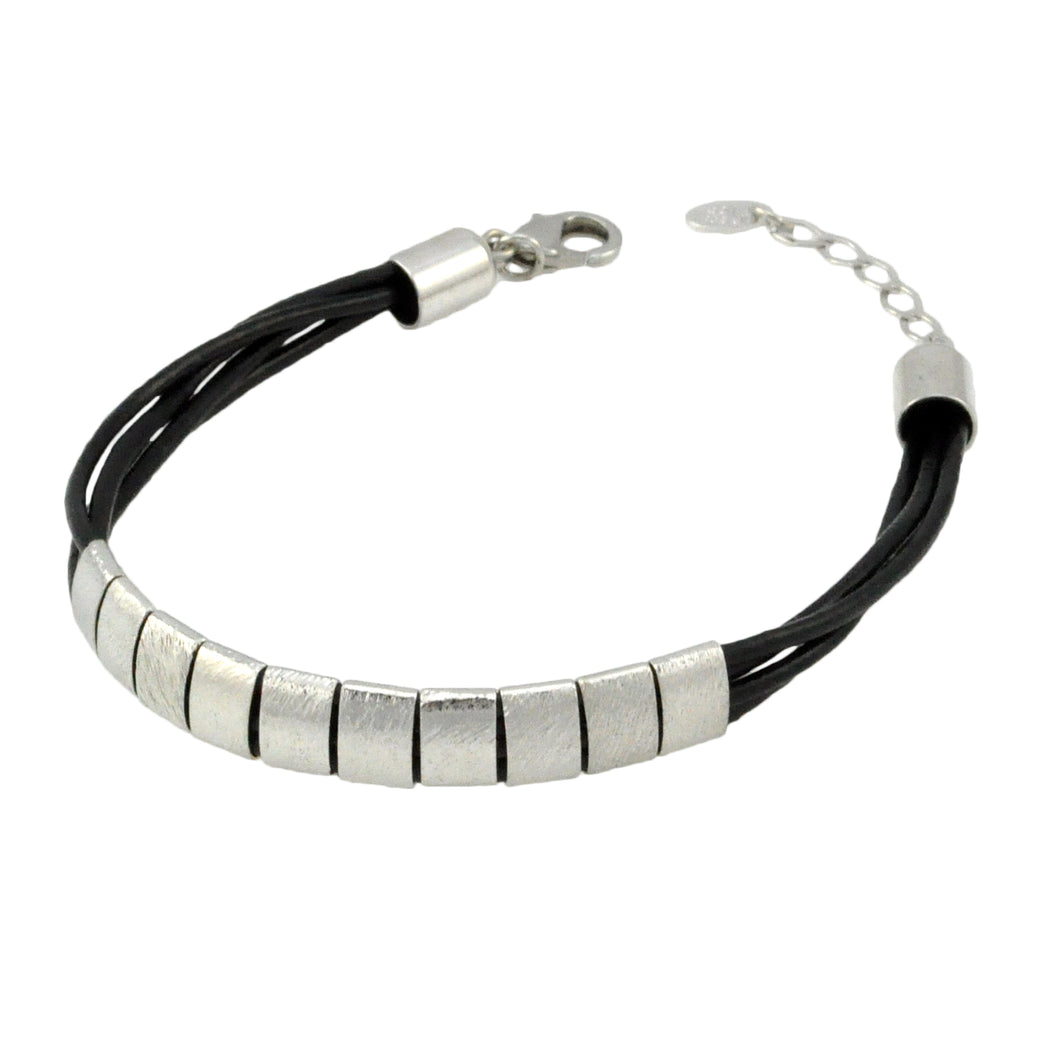 SB192RB Black Leather Bracelet with Rhodium Bands