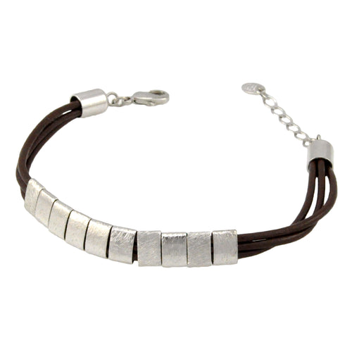 SB192RC Brown Leather Bracelet with Rhodium Bands