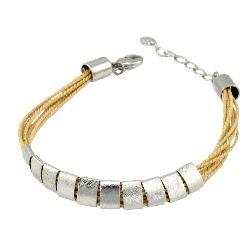 SB192R Natural Cord Bracelet with Rhodium Bands