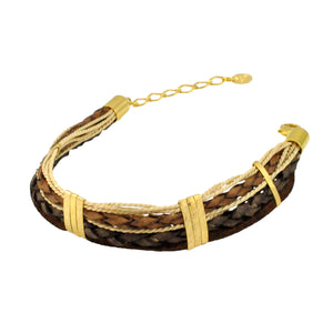 SB235 Leather Bracelet with Gold