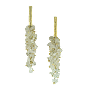 SE085CQ 18k Gold Plated Earrings with Clear Quartz