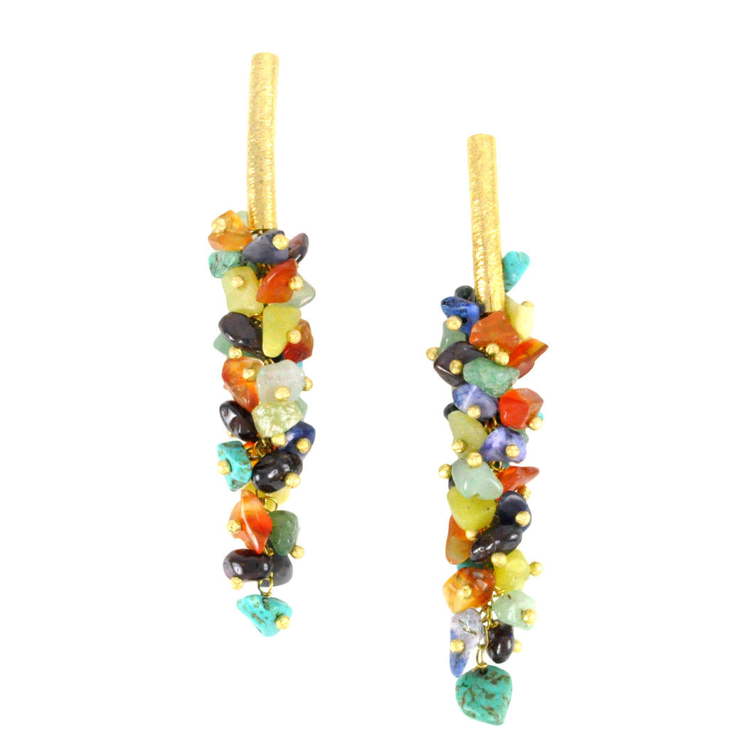 SE085MT 18k Gold Plated Earrings with Mixed Stones