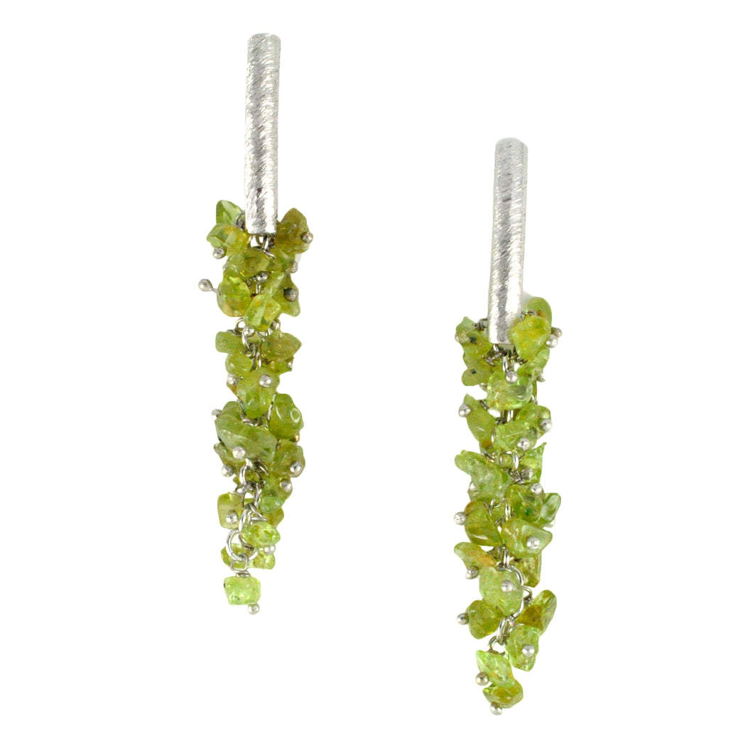 SE085RPD Rhodium Plated Earrings with Peridot