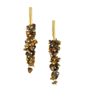 SE085TE 18k Gold Plated Earrings with Tiger Eye