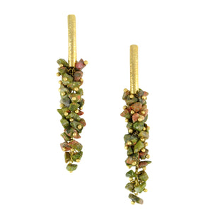 SE085UN 18k Gold Plated Earrings with Unakite