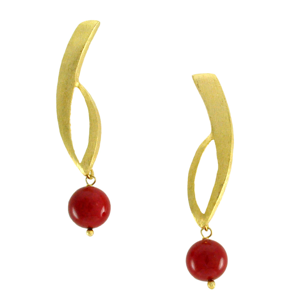 SE266CO 18k Gold Plated Earrings with Red Stone