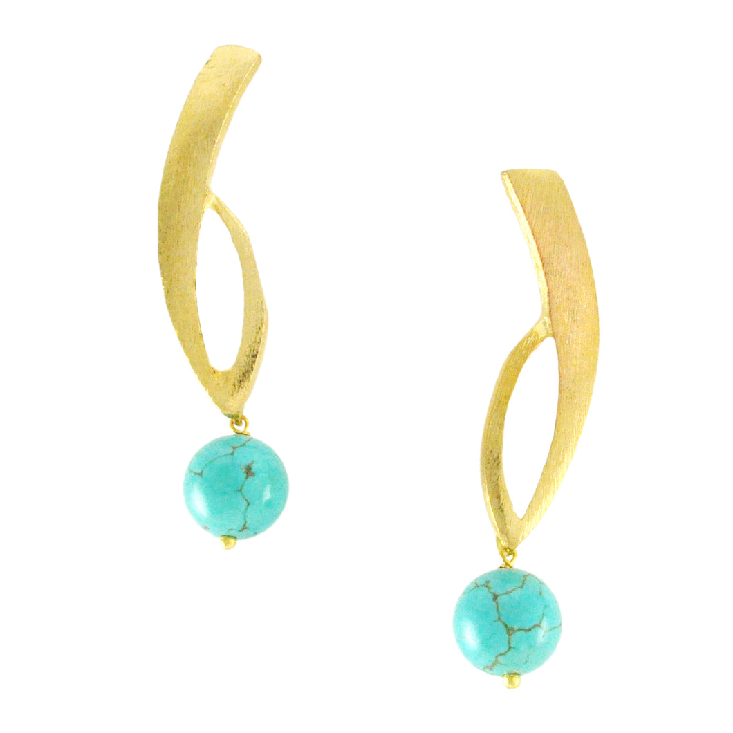 SE266TQ 18k Gold Plated Earrings with Turquoise