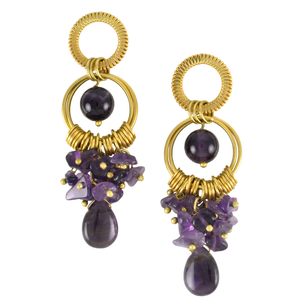 SE282AM Earrings with rings and Amethyst