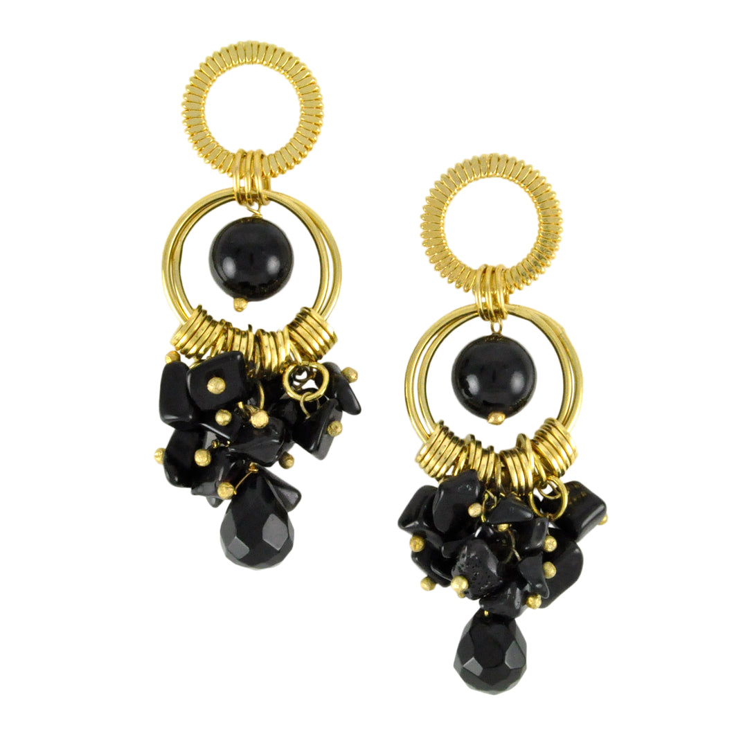 SE282ON Earrings with Rings and Onyx