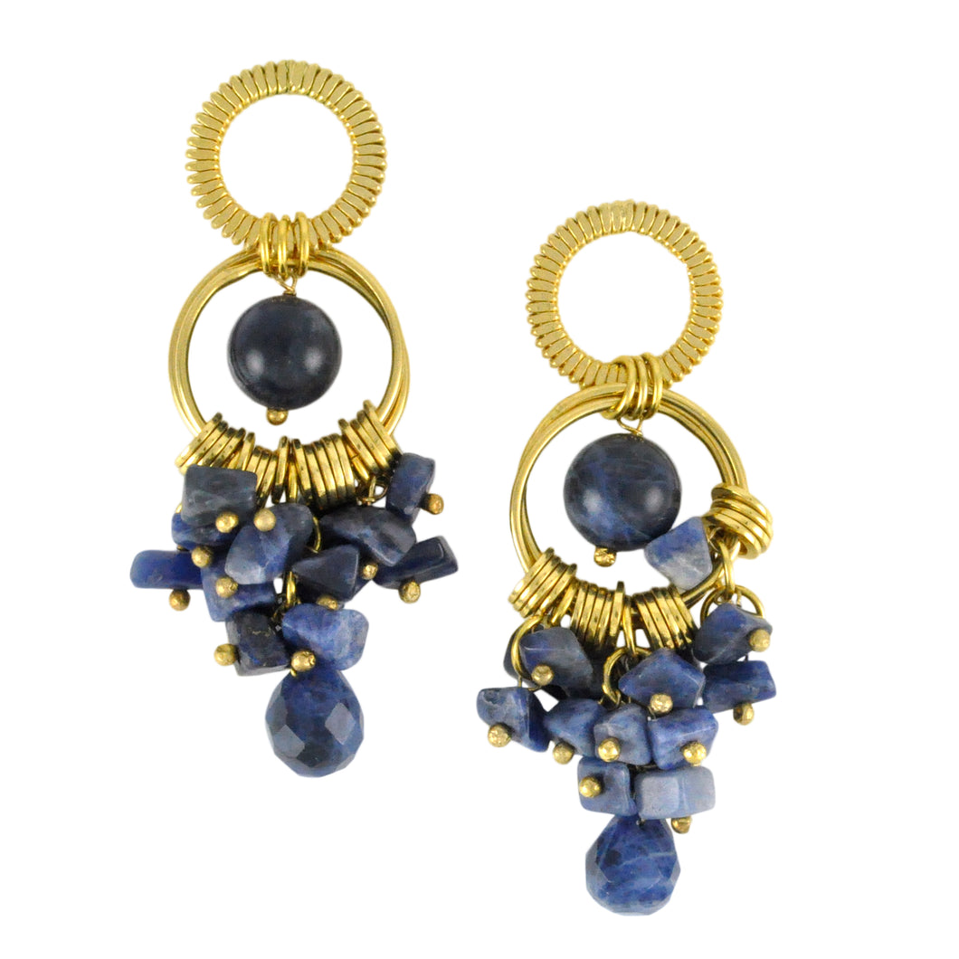 SE282SD Earrings with Rings and Sodalite