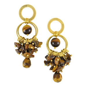 SE282TE Earrings with Rings and Tiger Eye