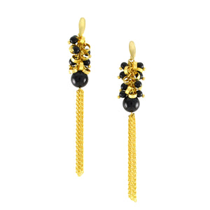 SE286ON 18k Gold Plated Tassel Earrings with Onyx
