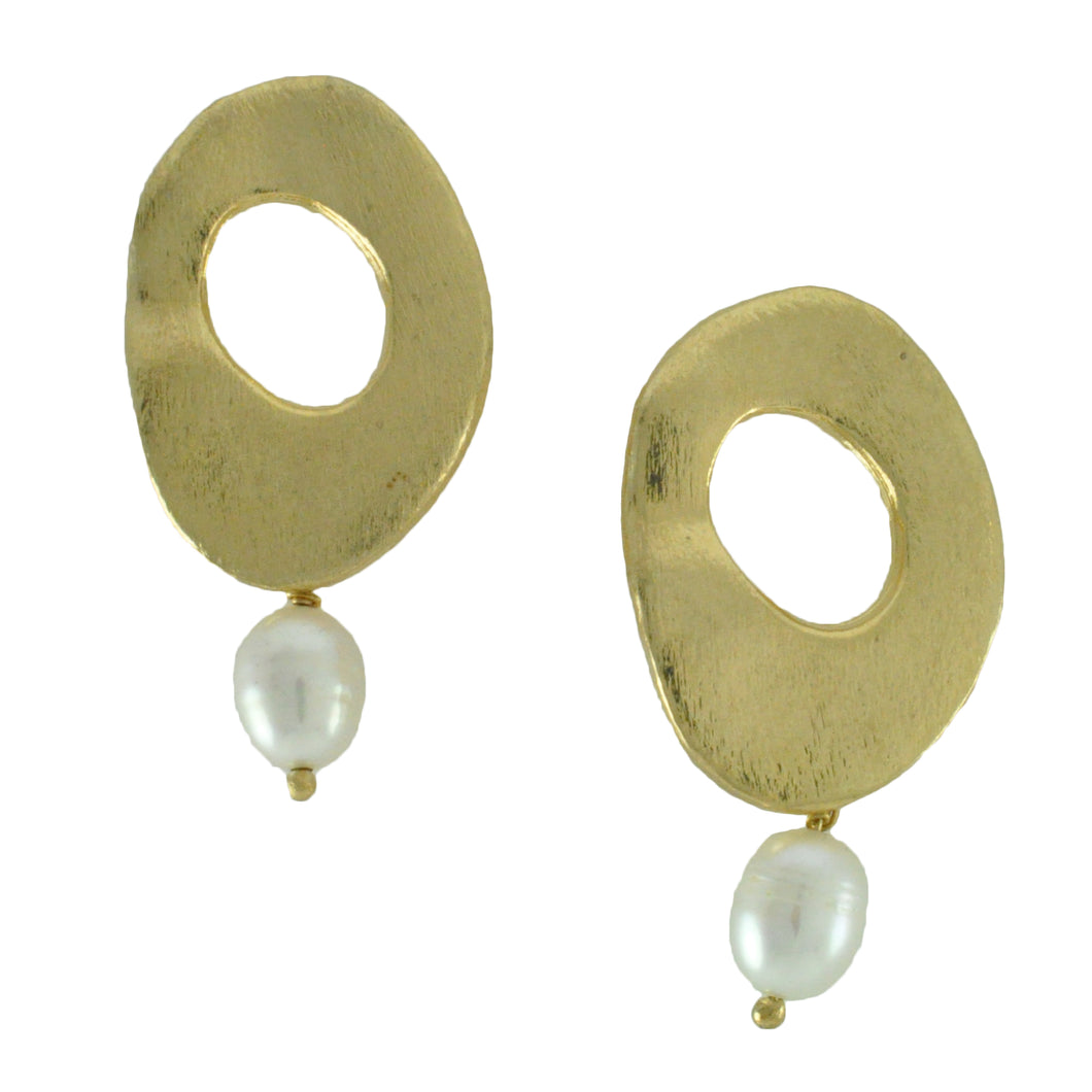 SE287FP Round 18k Gold Plated Earrings with Fresh Water Pearls