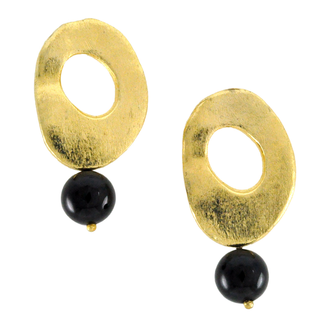 SE287ON Round 18k Gold Plated Earrings with Onyx