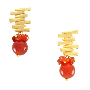 SE292AG 18k Gold Plated Earrings with Agate