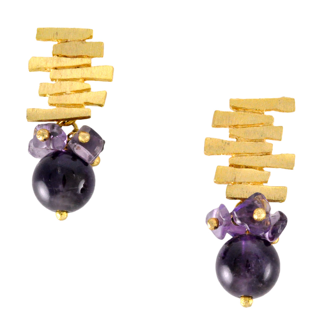 SE292AM 18k Gold Plated Earrings with Amethyst