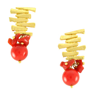 SE292CO 18k Gold Plated Earrings with Coral