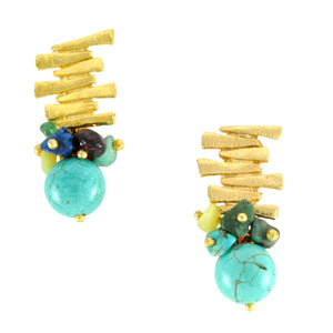 SE292MT 18k Gold Plated Earrings with mixed semiprecious stones