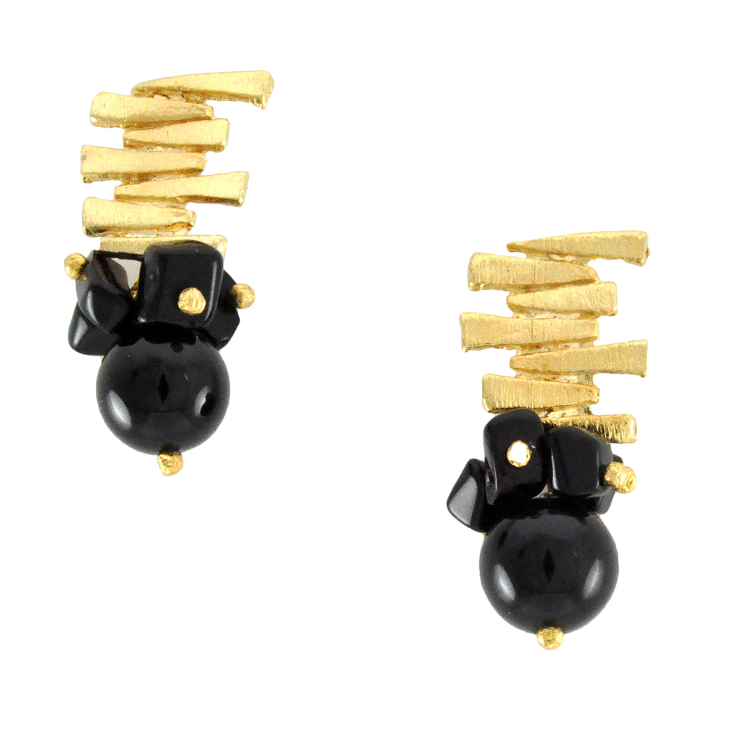 SE292ON 18k Gold Plated Earrings with Onyx