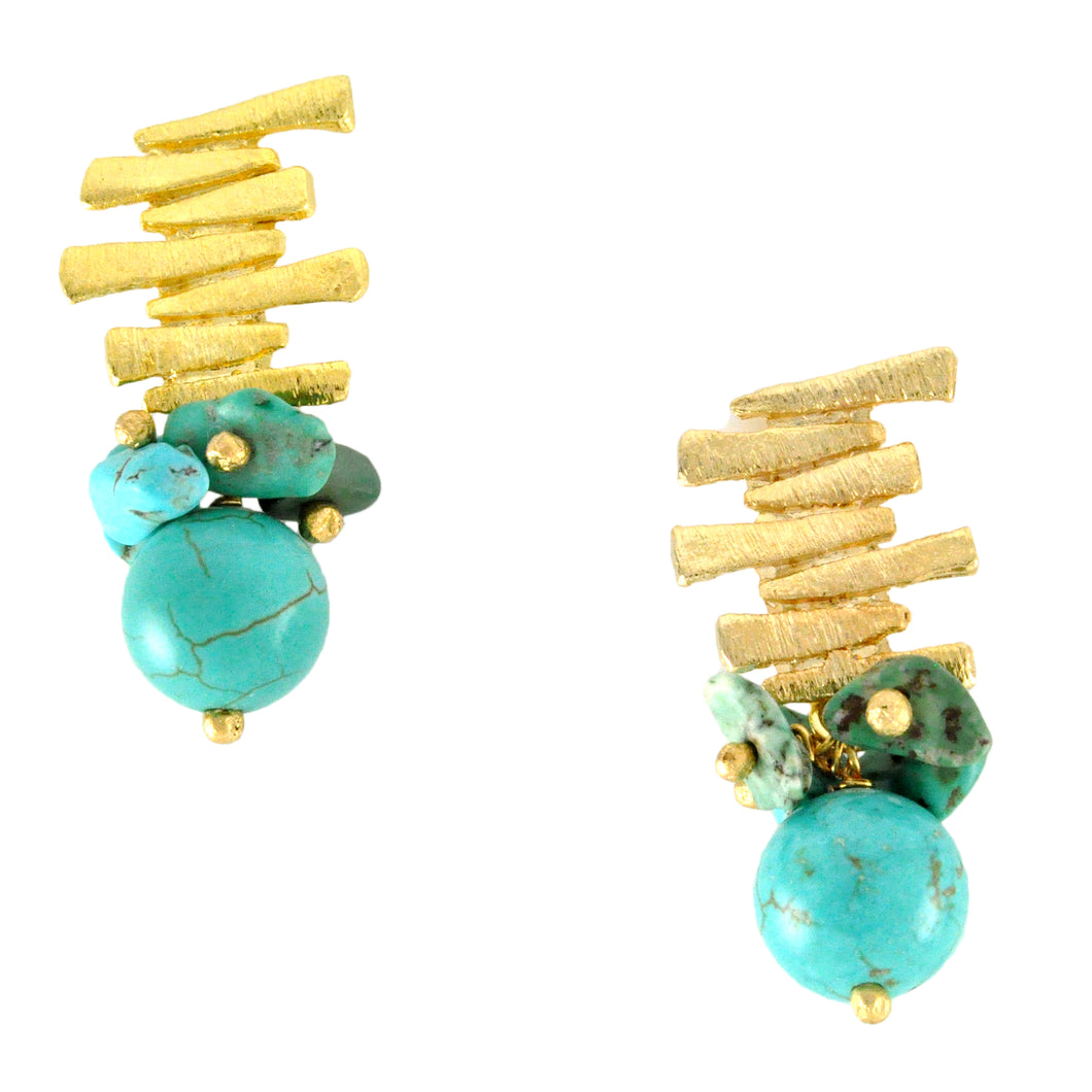 SE292TQ 18k Gold Plated Earrings with Turquoise