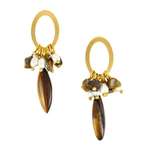 SE301TE Loop Earrings with Tiger Eye