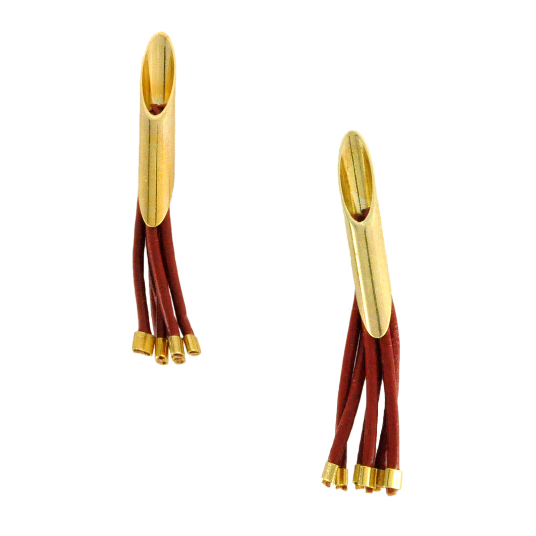 SE380E Gold and Terra-Cotta Leather Earrings