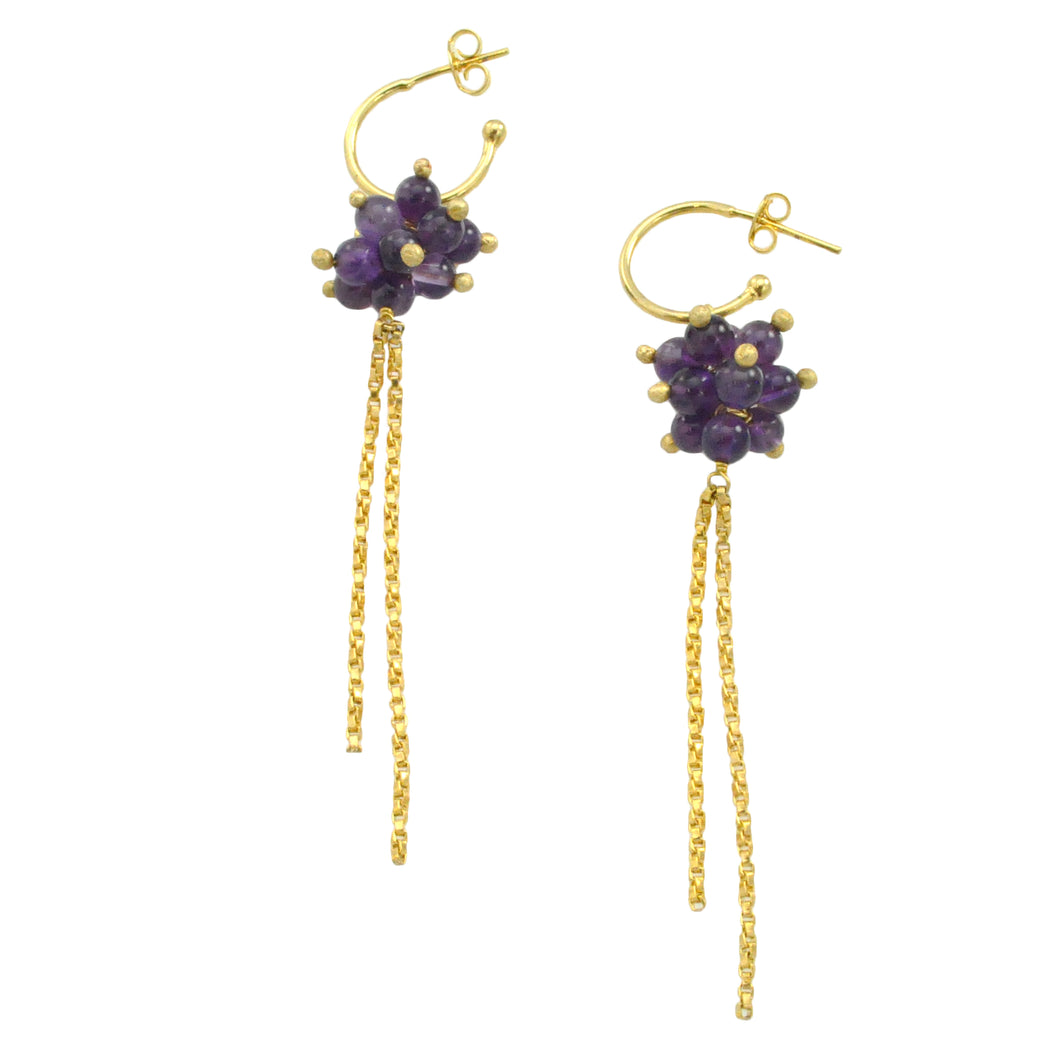 SE382AM 18k Gold Plated Earrings and Amethyst