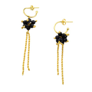 SE382SE 18k Gold Plated Earrings with Sea Stone