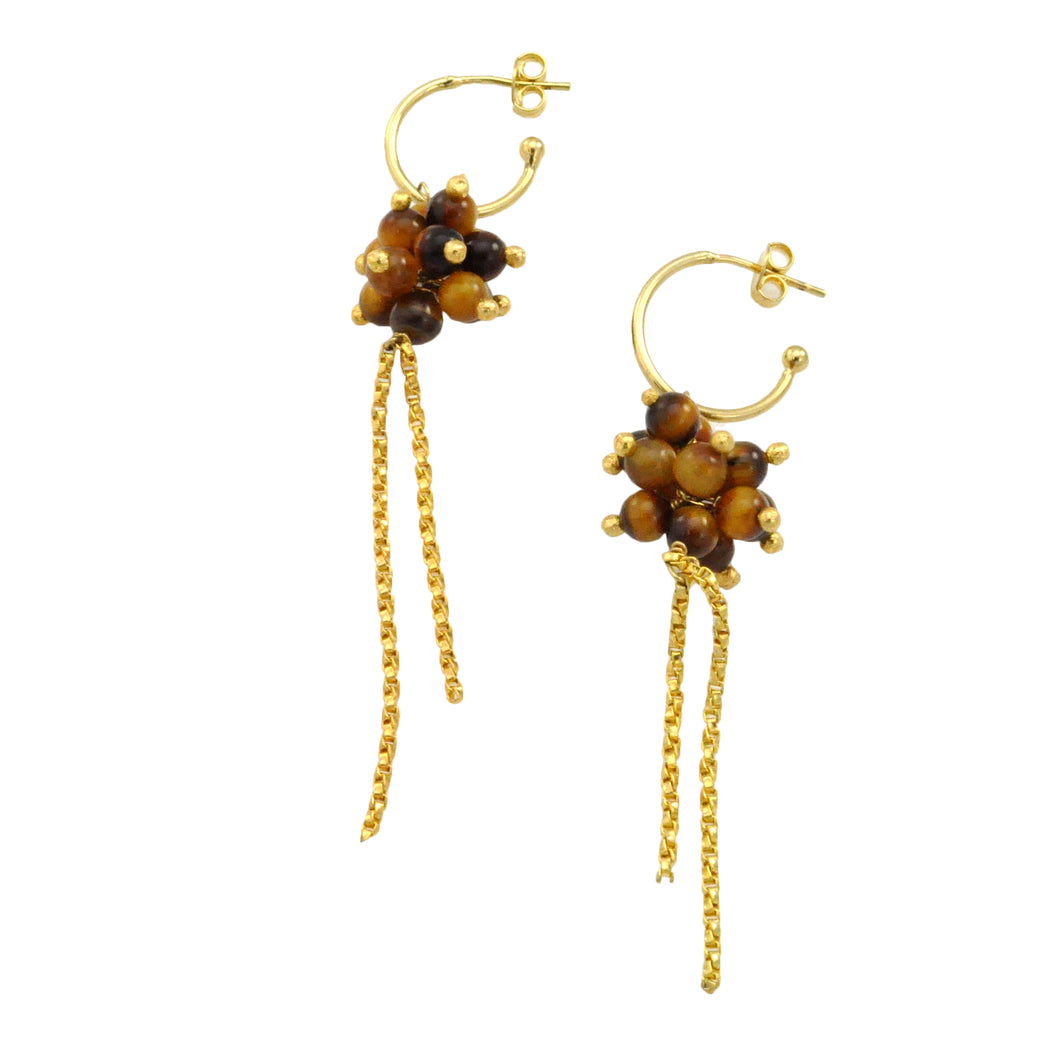 SE382TE 18k Gold Plated Earrings with Tiger Eye