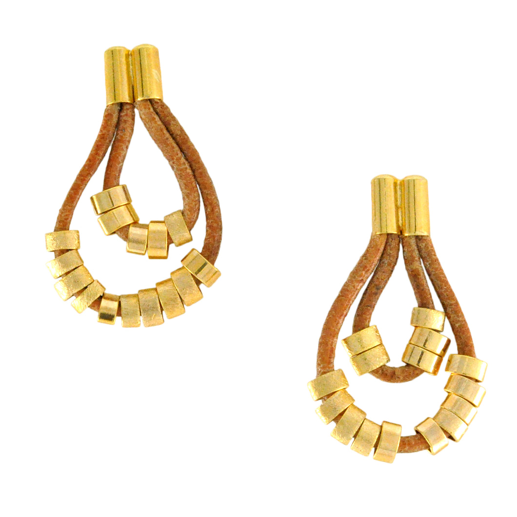 SE383A Gold and Neutral Leather Earrings