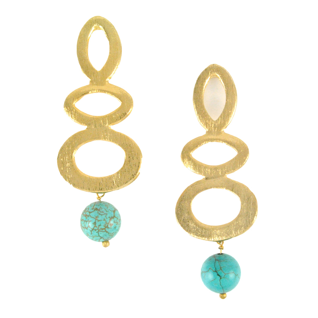 SE443TQ Gold Plated Earrings with Turquoise