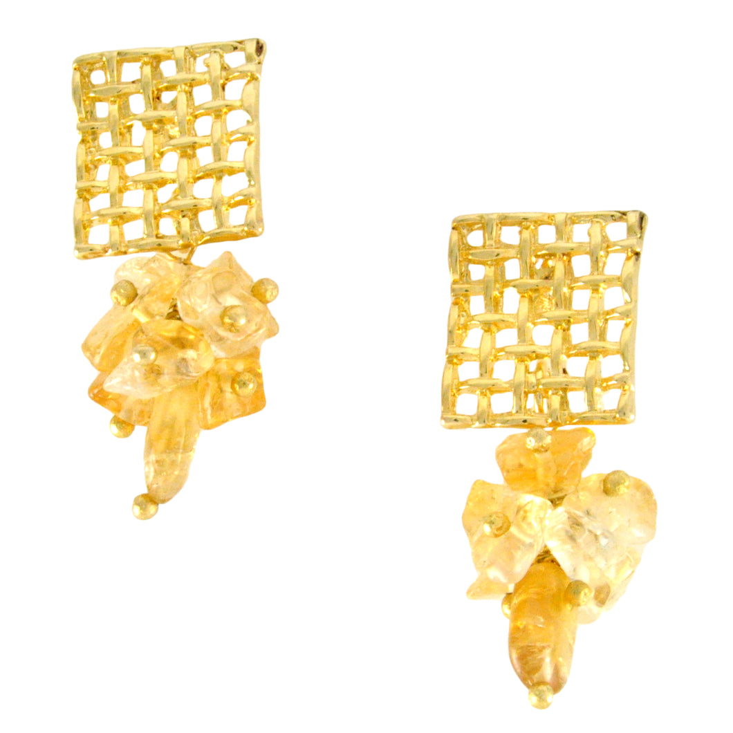 SE444CT Gold Earrings with Waffle Top and Citrine