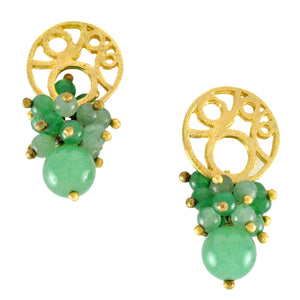 SE451GQ .Gold Earrings with Green Quartz